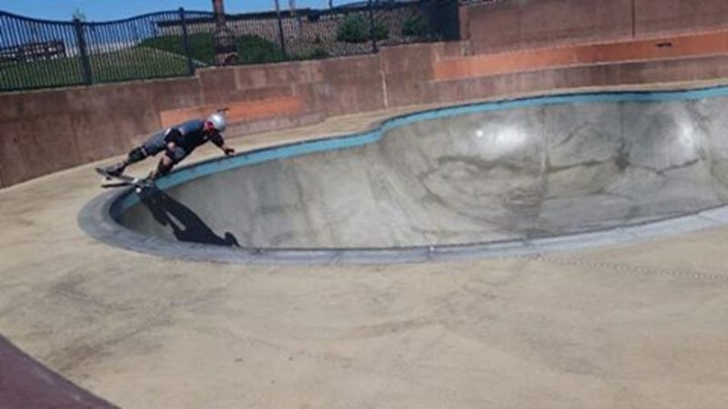 Testing out the coping at the Encinitas skate