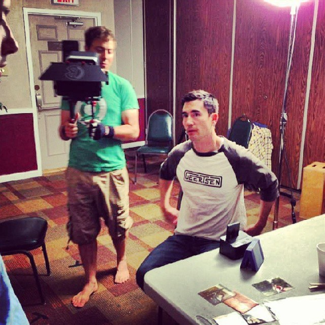 Andrew Roach representing geertsenclothing on set filming Boom